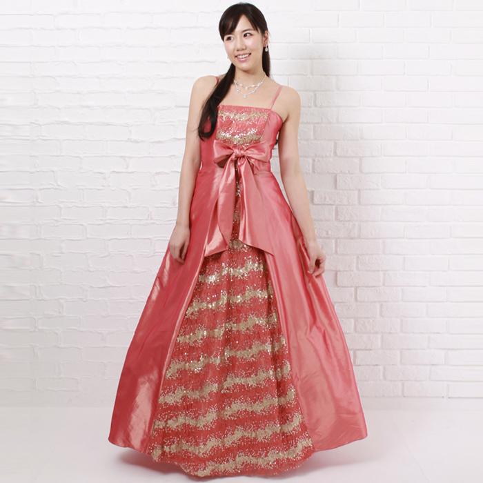 華やかな舞台や二次会などに最適なフロントリボンが特徴のコーラルオレンジのロングドレス