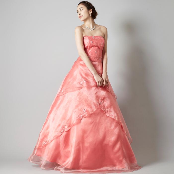 二次会や楽しいイベントに最適の元気で可愛いコーラルカラーのドレス