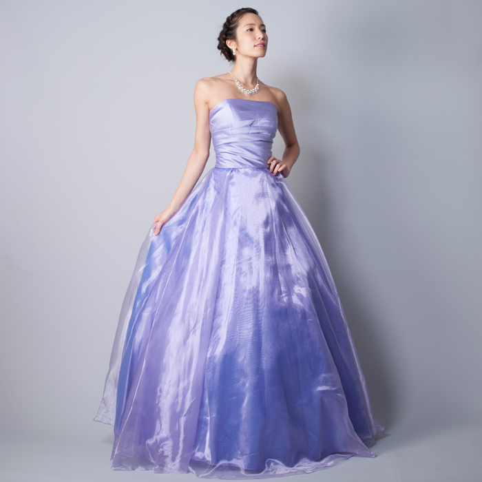 ライトパープルの可愛らしく落ち着いた透明感のある演奏会カラードレス