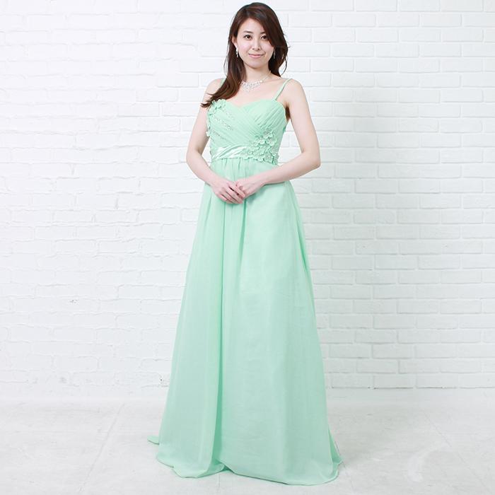 爽やかな清潔感溢れる、ミントグリーンのロングカラードレス