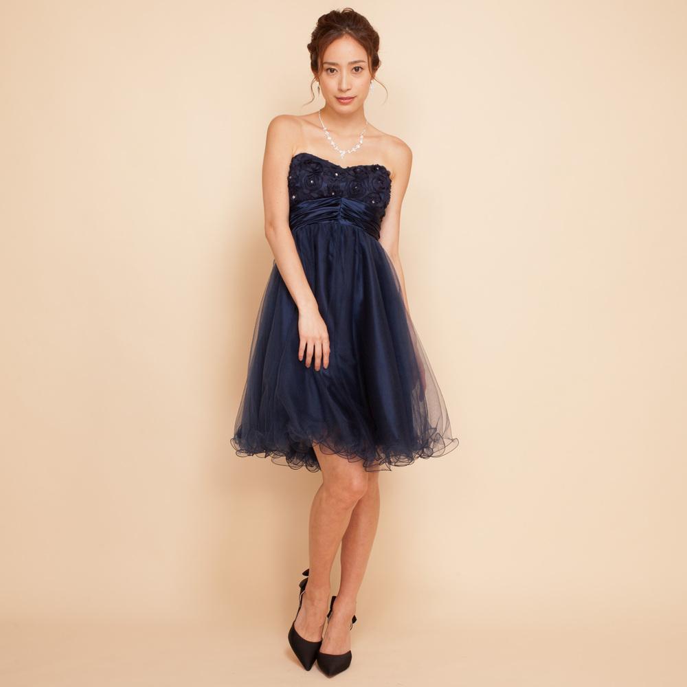 深みのあるネイビーカラーのお姉さんスタイルのお呼ばれドレス