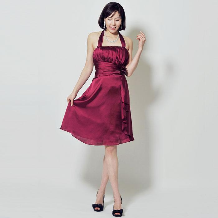 ワインピンクカラーのパーティーシーンに最適なお呼ばれショートドレス