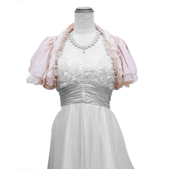 フォーマルなドレスに最適。バラの飾りがゴージャスな高級感のあるデザインボレロ