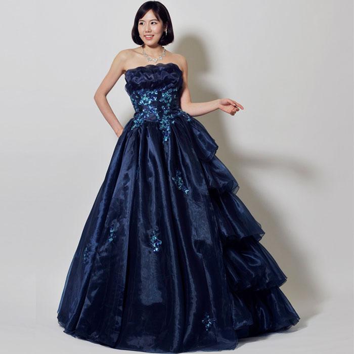 ネイビーカラーの高級感満点なオペラの衣装等に最適なロングタイプのカラードレス