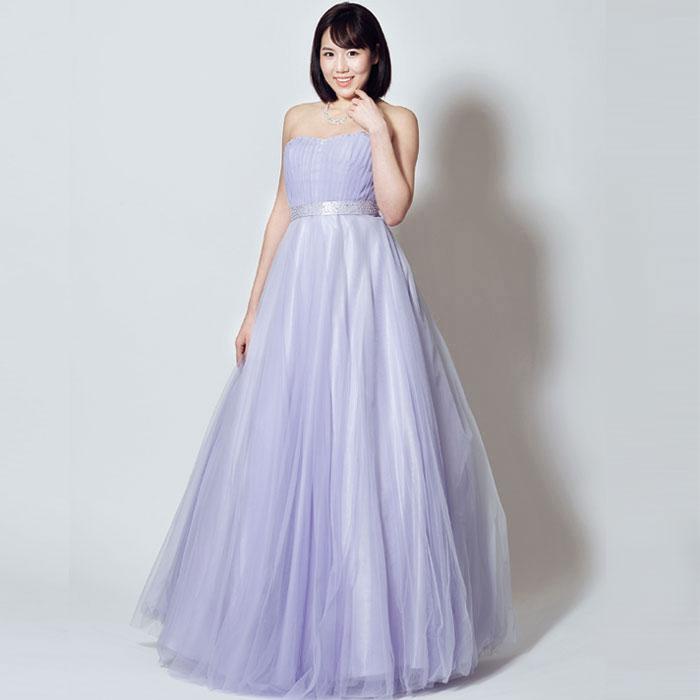 柔らかな魅力溢れるライトパープルカラーの演奏会や結婚式に最適なロングドレス