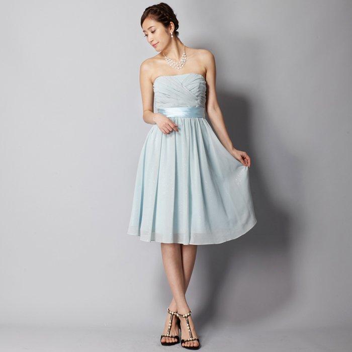 爽やかな海の青さを感じさせる膝丈ベビーミントお呼ばれショートドレス