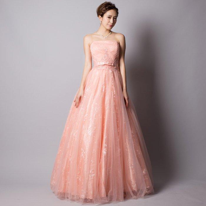 可憐なピンクロングドレス♪レーススパンコールで更に豪華な印象に