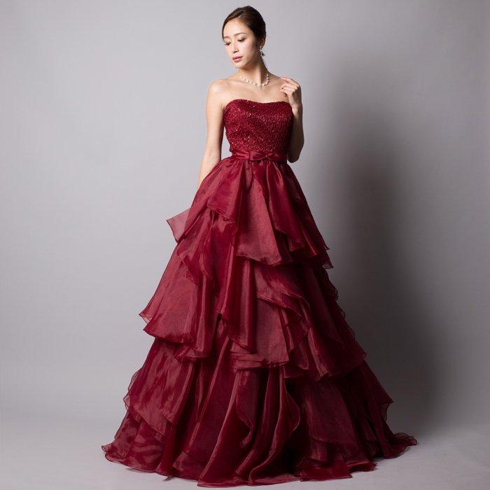 ボルドーワインレッド大人なワッフルオーガンジーボリュームロングドレス