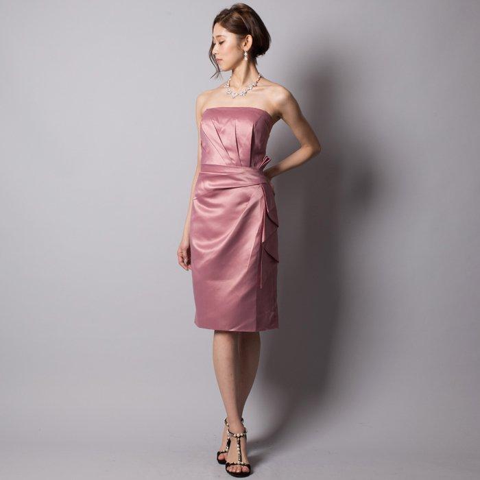 大人なダスティーローズで差をつけてアイラインサテンミディアムドレス