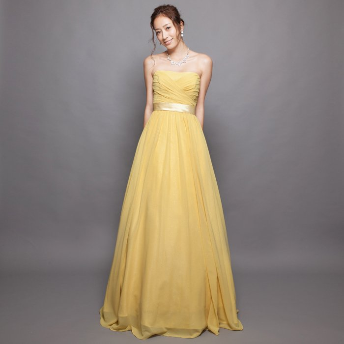 爽やかなイエローゴールドグリッターシフォンロングドレス