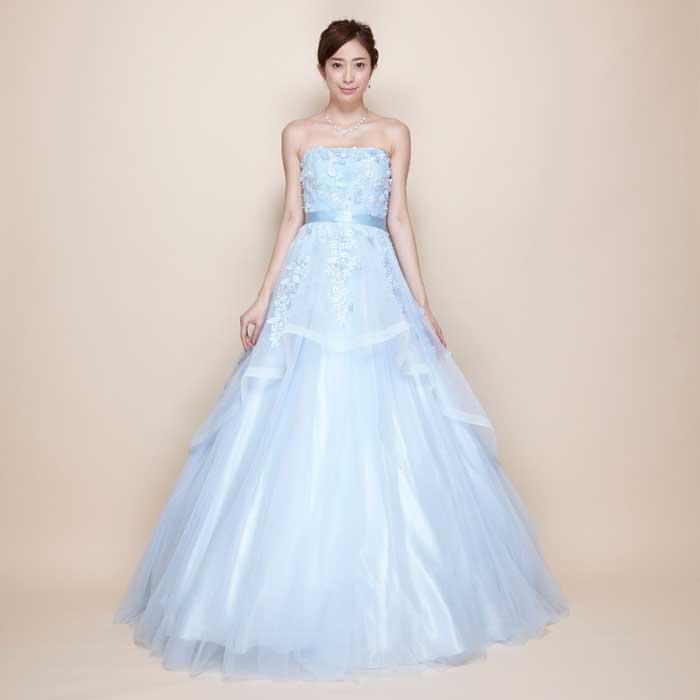 お花をドレスに散りばめたスカイブルーオーガンジーチュールボリュームロングドレス