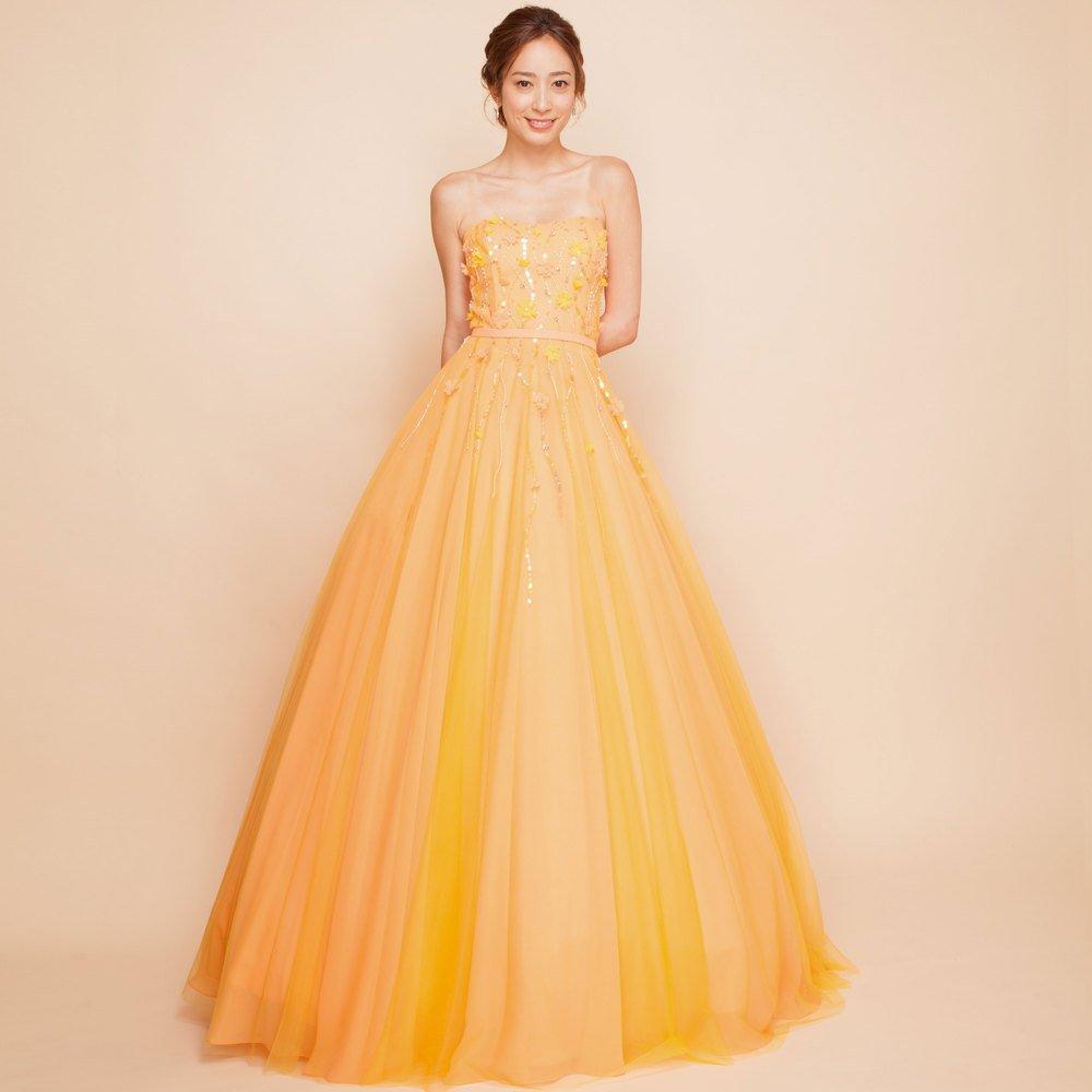 ビタミンカラーイエローチュールオレンジボリュームロングドレス