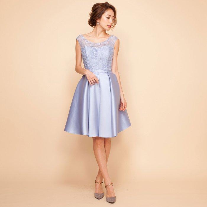 フラワーレースツイルサテンスカイブルーミディアムドレス