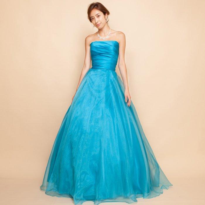上質サテンのターコイズブルーカラーのオーガンジーロングドレス