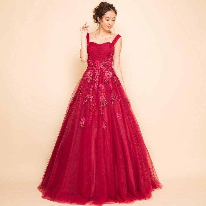 フラワー刺繍プリンセスボリュームチュールワインロングドレス