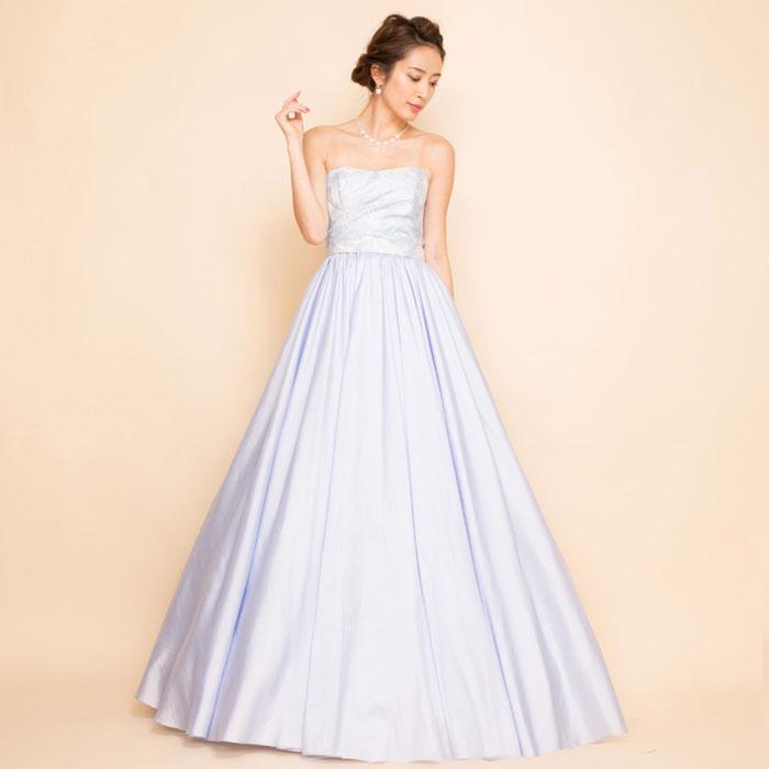 ジャガードタフタスカートスカイブルーロングドレス