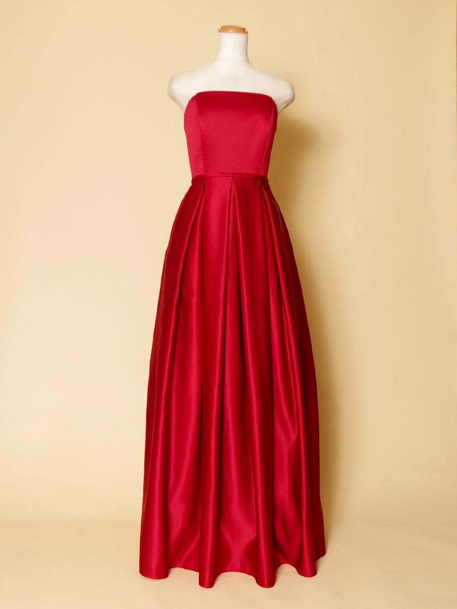 ステージドレスに最適!ボックスプリーツの高級感を感じさせる赤のロングドレス