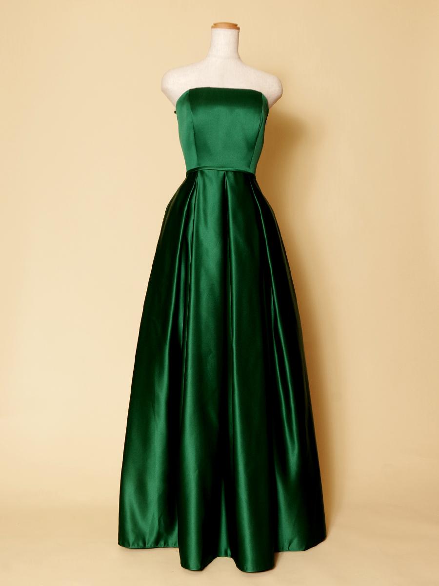 大人なディープグリーンでスタイリッシュなボックスプリーツカラードレス