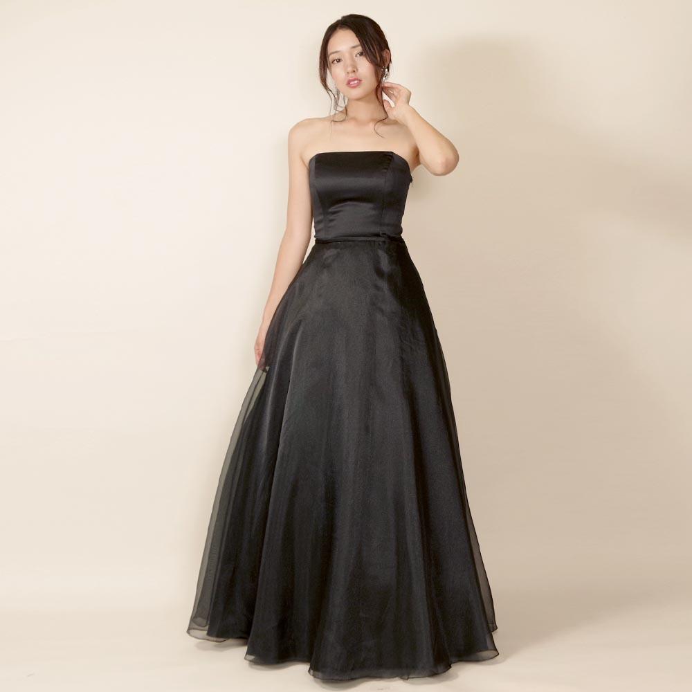 【アウトレット商品】オーケストラや伴奏にも最適なスレンダー黒オーガンジーのコンサートドレス