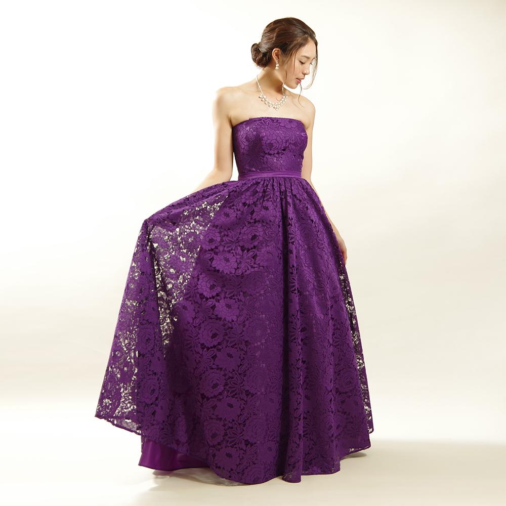 エレガントカラーで人気のダークパープルで美しく可憐な総レースのスレンダー発表会ドレス