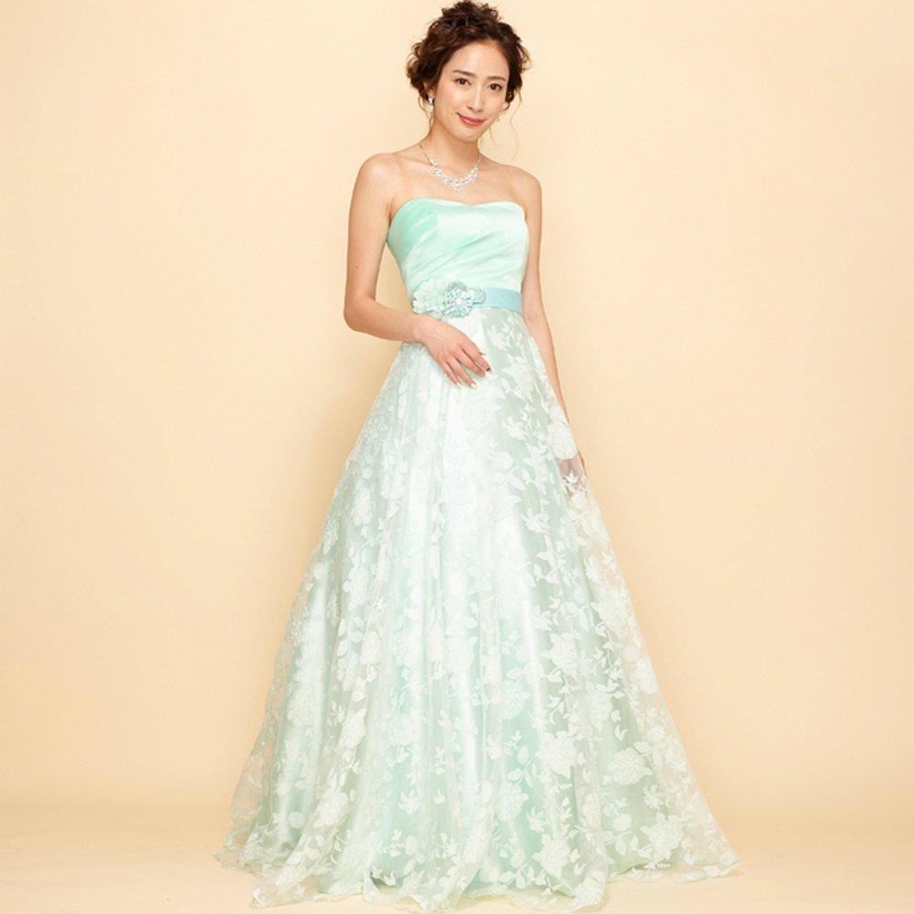 ソロ演奏で使いたいミントカラーのフラワーオーガンジーのカラードレス