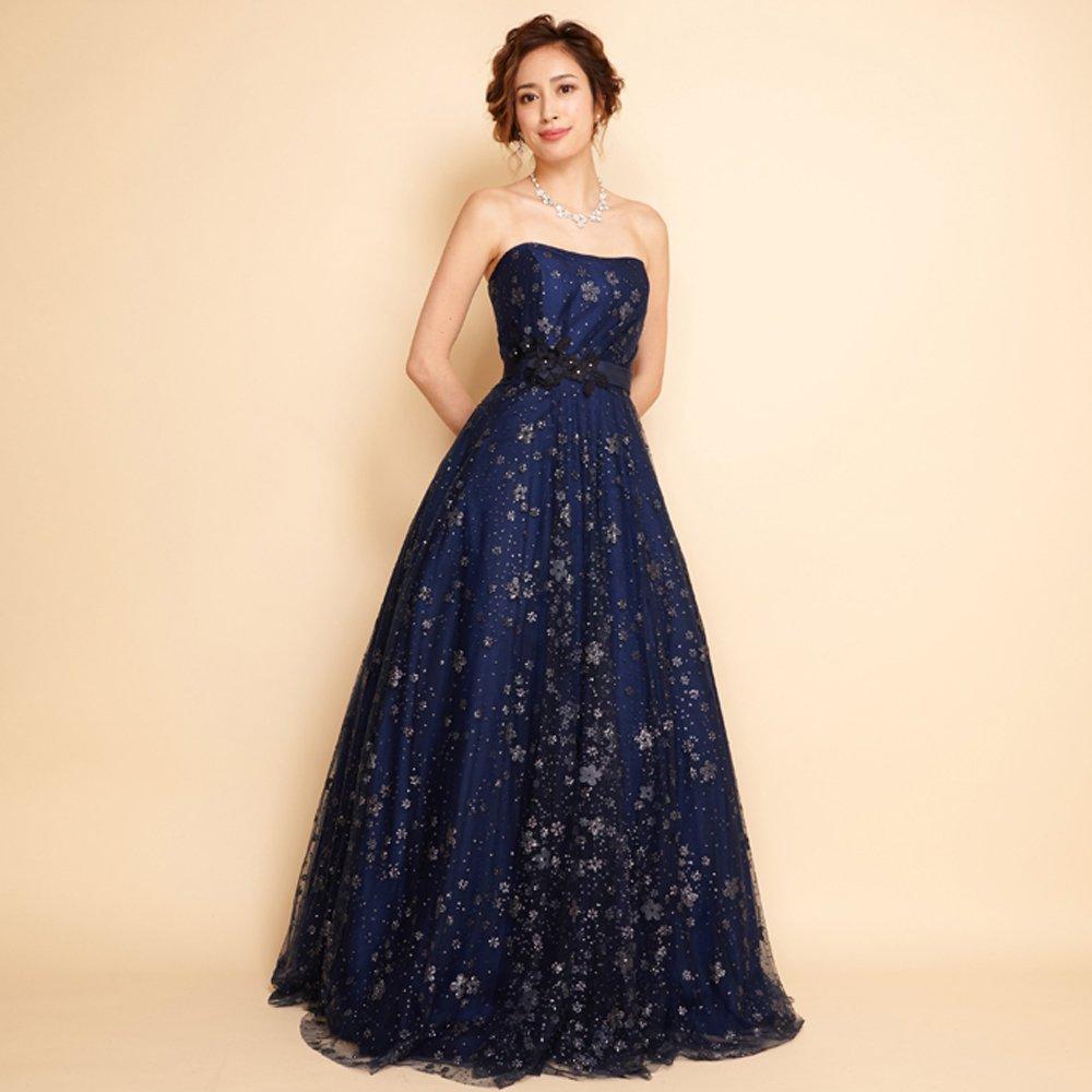 幻想的な美しさを表現したグリッターチュールのネイビカラーロングドレス