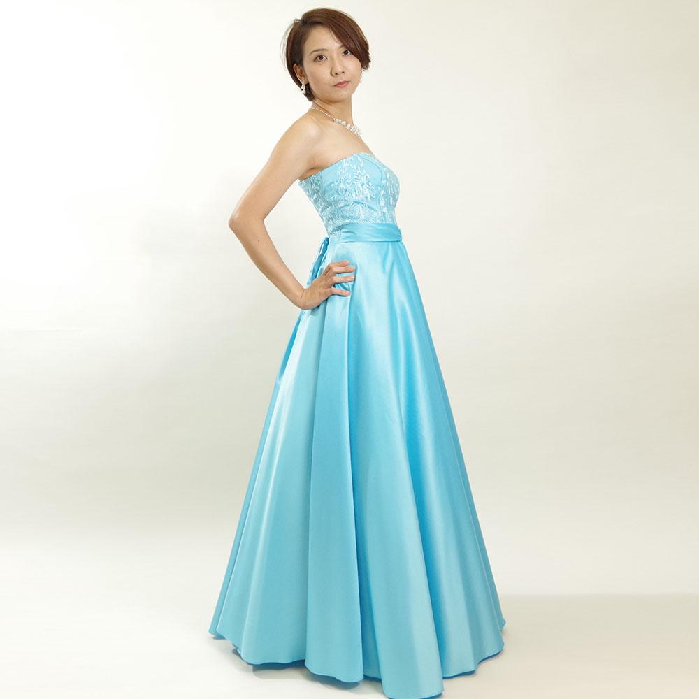 爽やかな印象でステージ映え抜群のターコイズブルーフラワーレースドレス