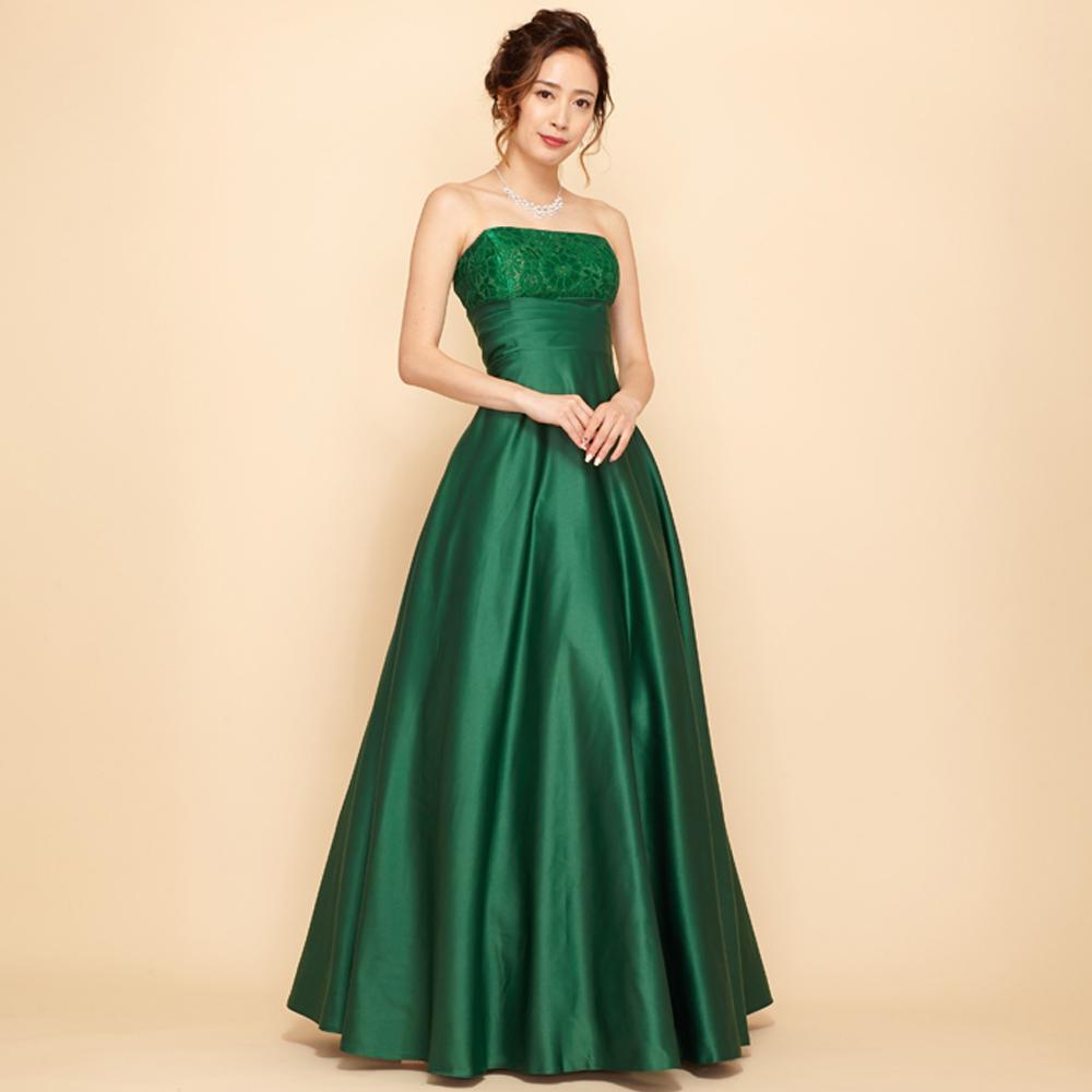 大人の上品さ漂う深みのあるグリーンカラーの演奏会ロングドレス