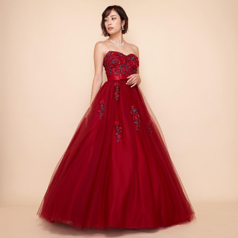 卒業式や披露宴に最適な立体フラワー装飾の贅沢ボリュームドレス