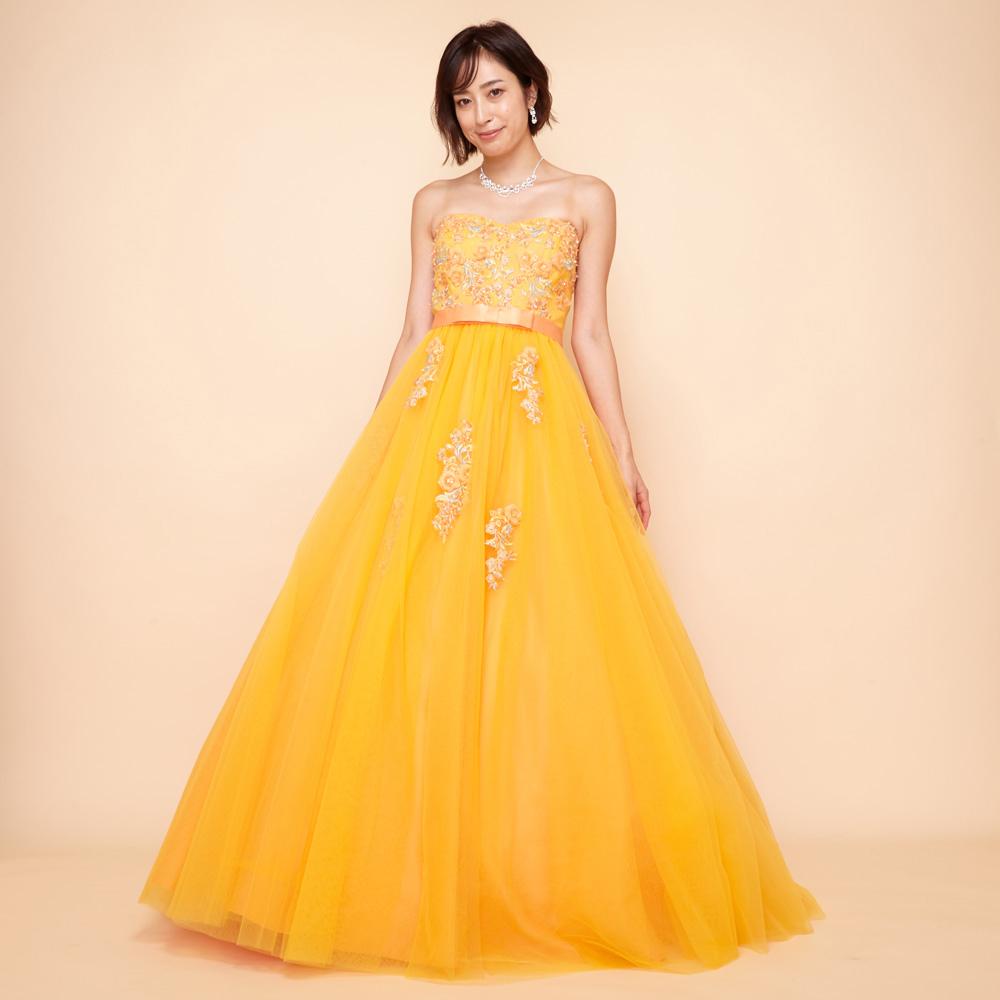 元気いっぱいで輝かしい立体フラワーモチーフのオレンジボリュームドレス