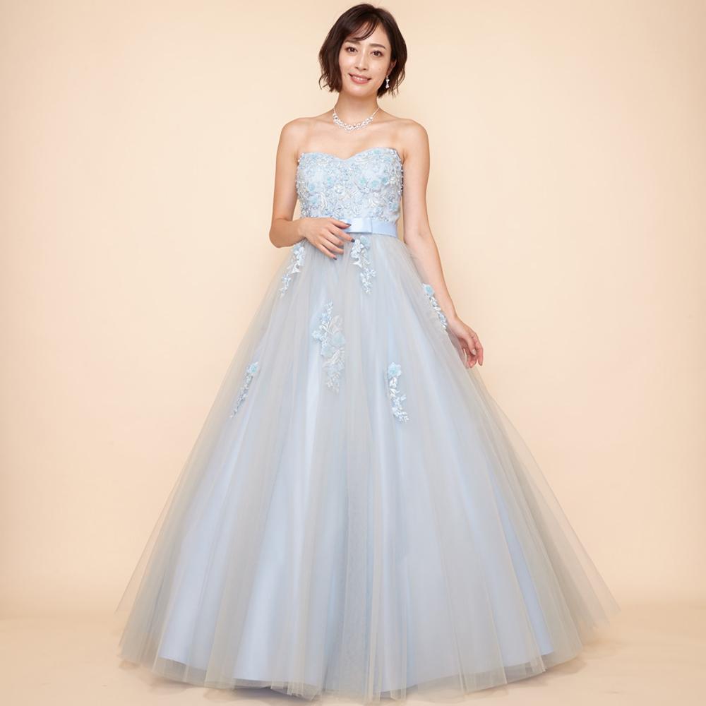 ミステリアスでお洒落な印象のスモーキーブルー立体フラワーモチーフドレス