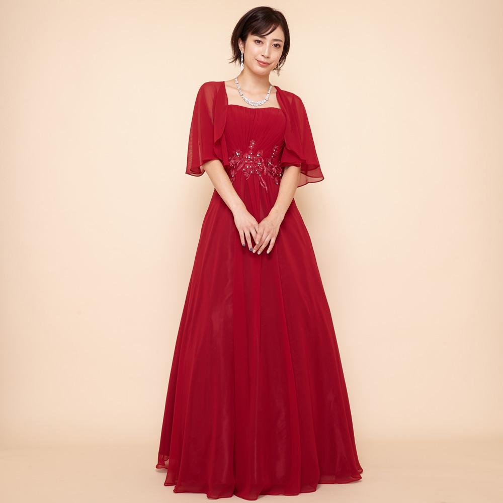 背中と二の腕が隠れるボレロ付きレッドカラーの大人シフォンモチーフレースドレス