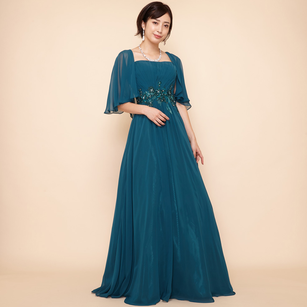 ウエストフラワーモチーフのアンサンブルで使いやすいボレロ付きグリーンドレス
