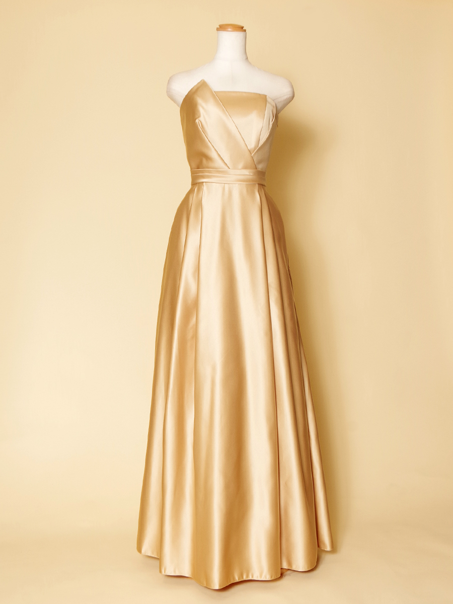 ゴールドカラーの胸元エッジカラードレス