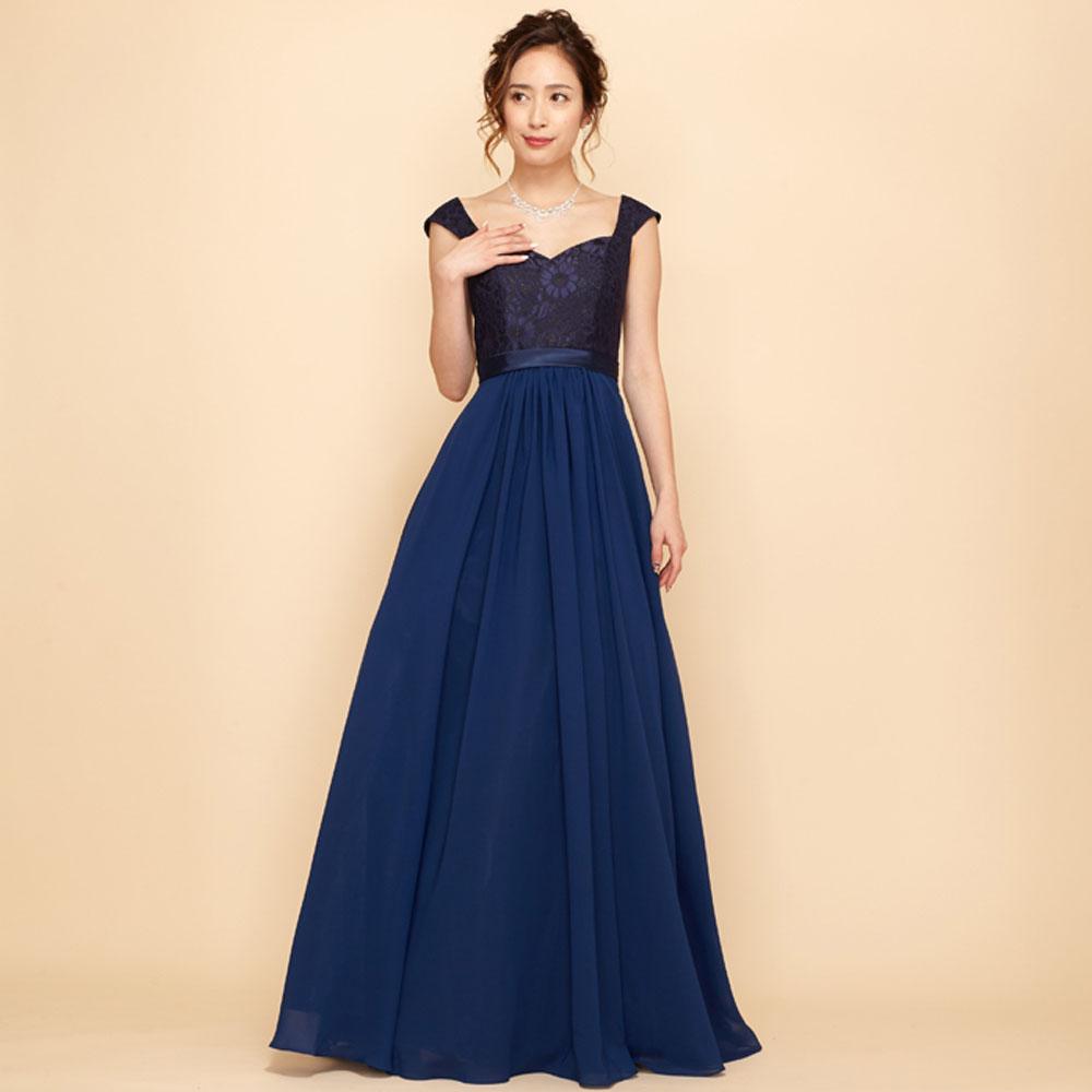 室内楽やコンクールでも使い易い肩付きデザインの上身頃キラキラレースドレス