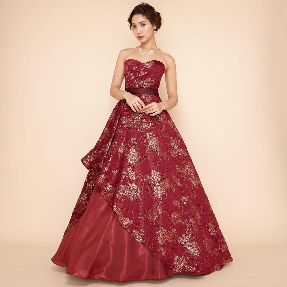 個性派のあなたに!ワインレッドのおしゃれなジャガード生地を贅沢に使用したAラインドレス