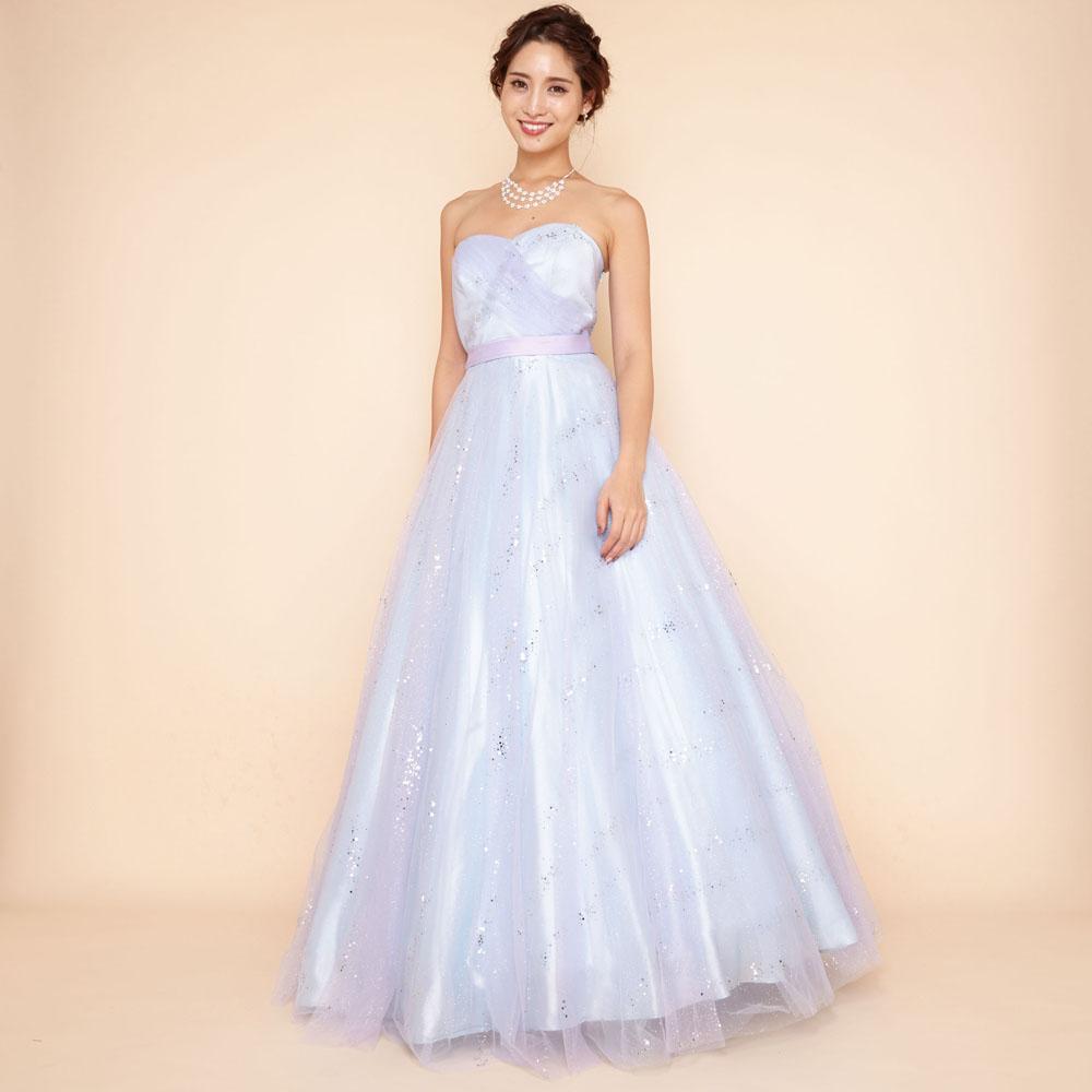 清楚で可愛らしいベビーブルーのグリッター装飾Aラインドレス