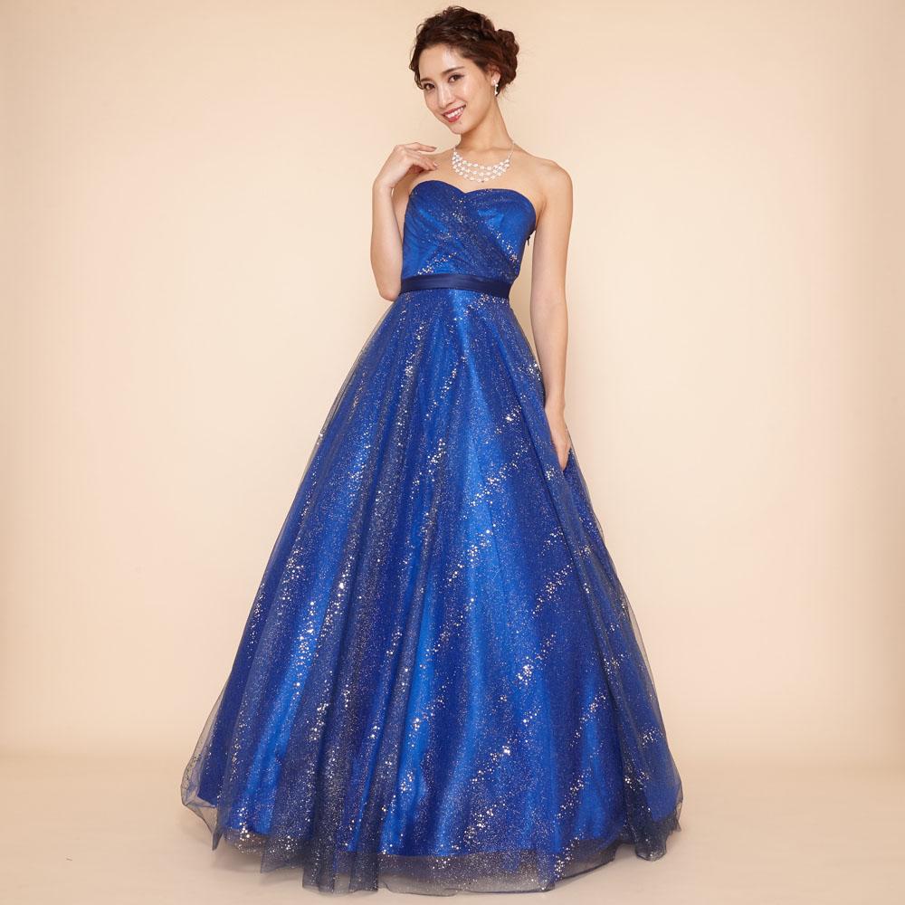 ロイヤルブルーとグリッター装飾が神秘的で美しいキラキラチュールボリュームドレス