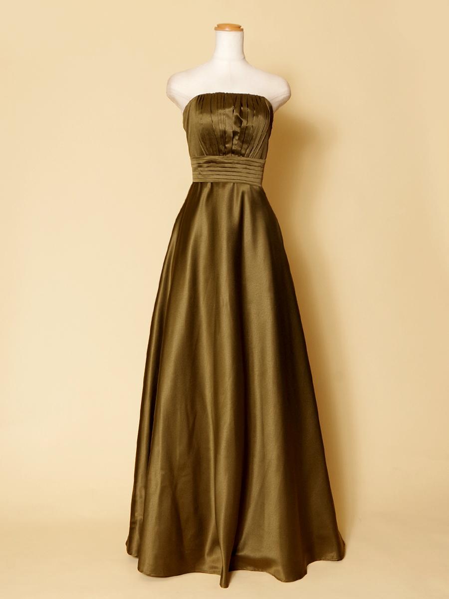 【アウトレット商品】ドレスでもカジュアルに決めたいおしゃれな女性にカーキ色のスレンダードレス