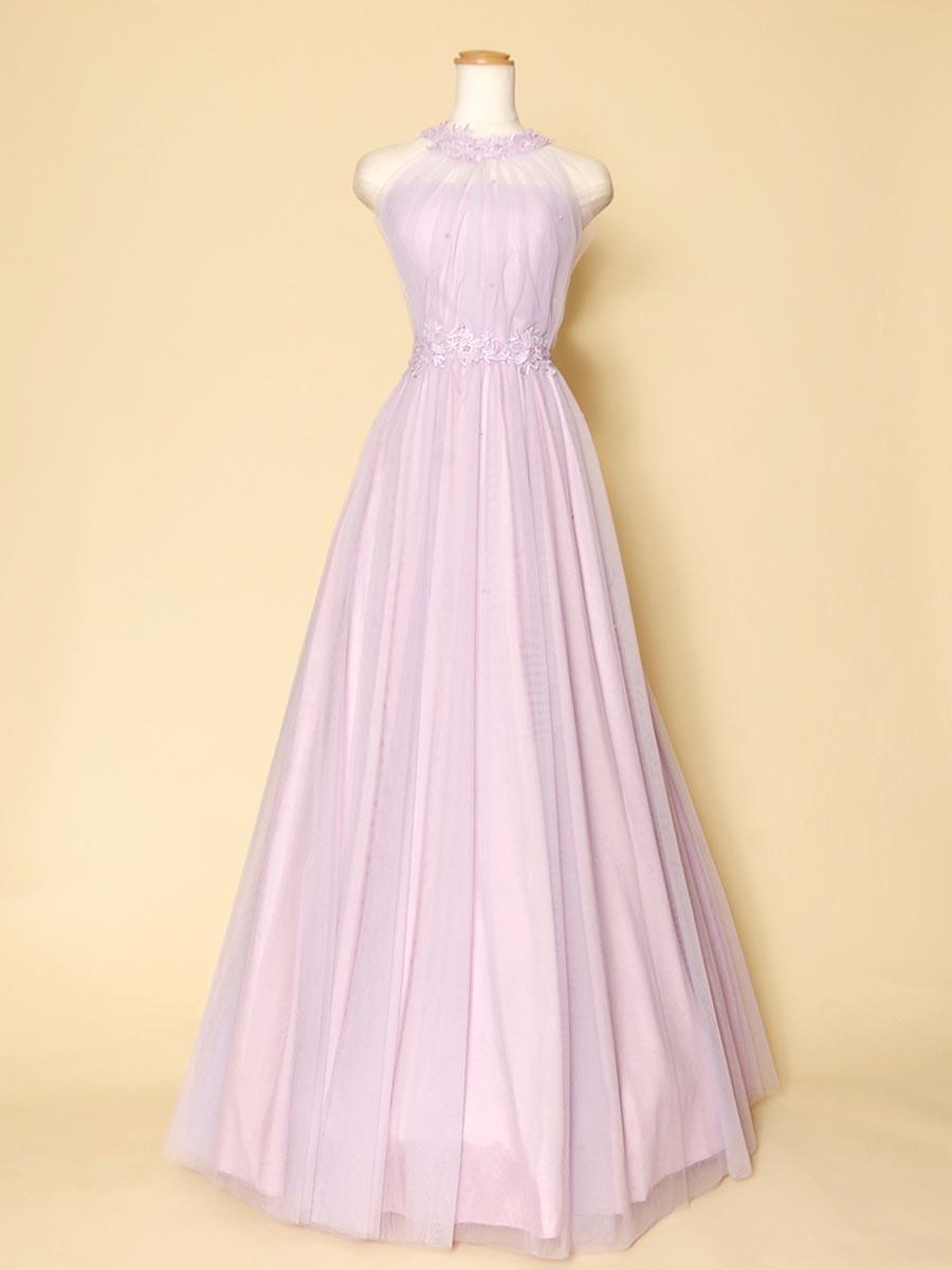 フリーサイズで着易い!パープルカラーのホルターネックロングドレス