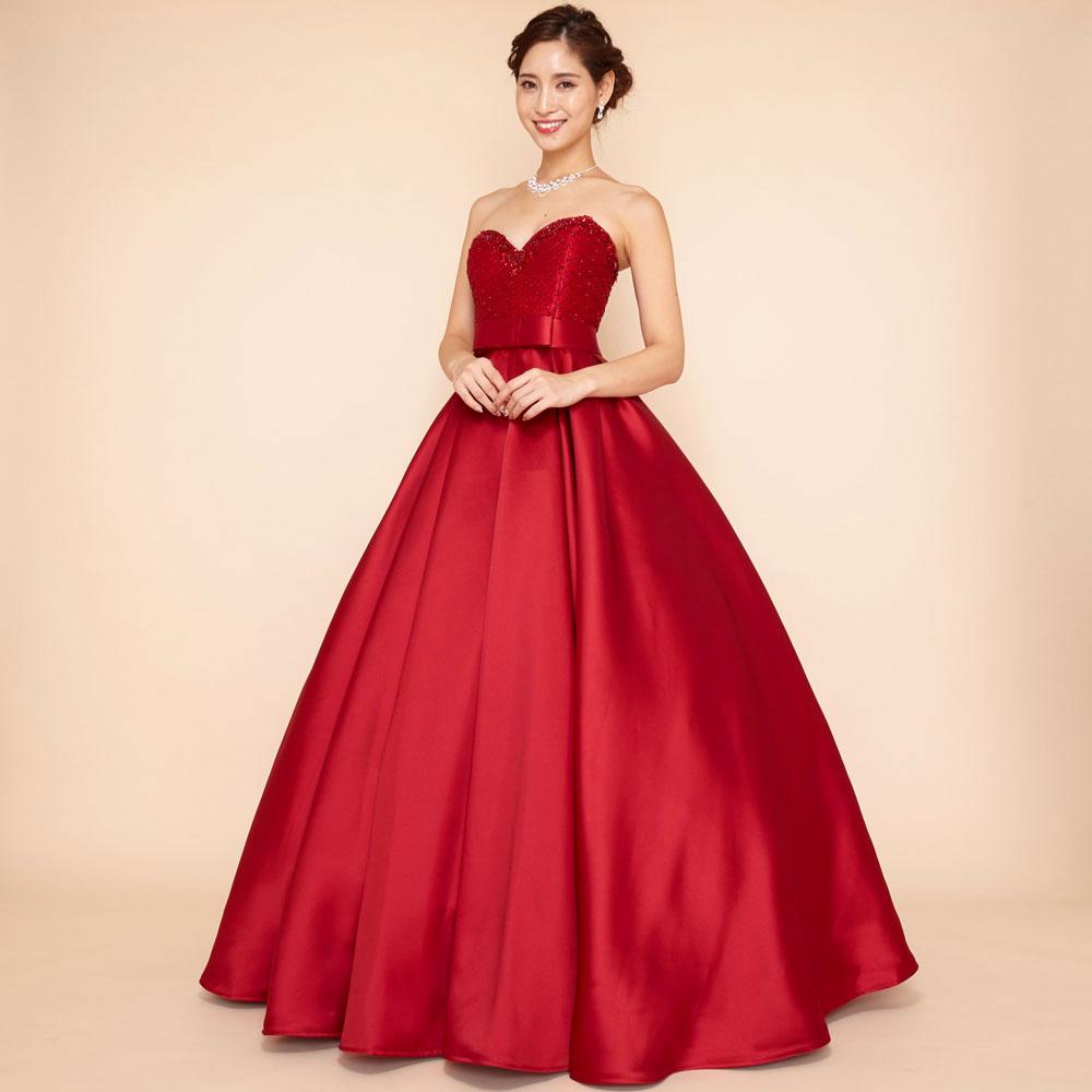 Vカットの胸元が美しいボリュームたっぷりワインレッドカラー豪華ドレス