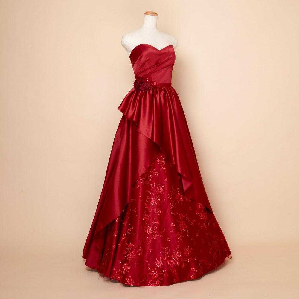 ウエストフラワーコサージュとグリッターチュールの大人可愛い上品サテンドレス