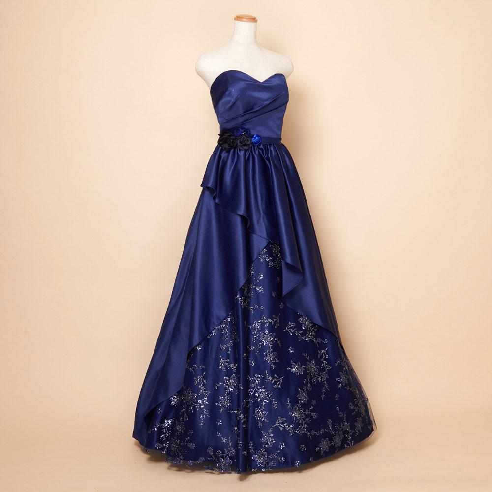 上品なネイビーカラーのウエストコサージュグリッター豪華ドレス