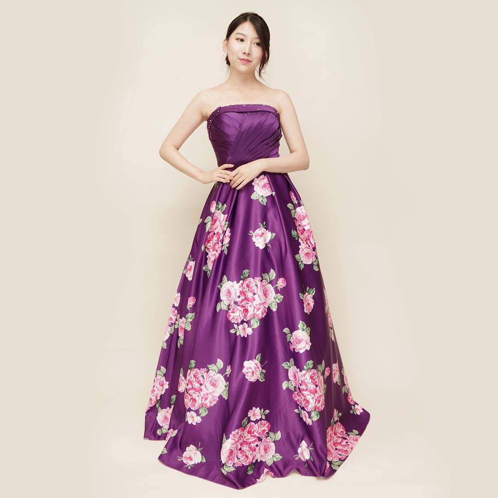 花柄パープルの一点ものカラードレス
