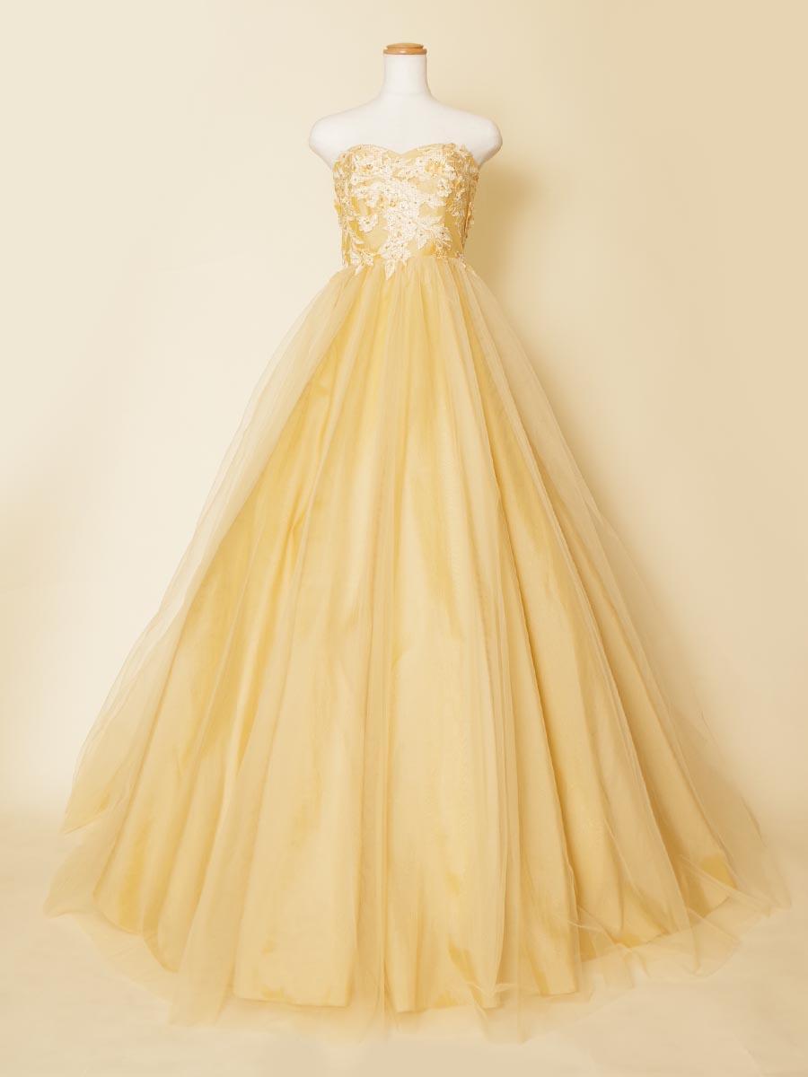 シャンパンゴールドの豪華でエレガントなフラワーモチーフのチュールボリュームドレス