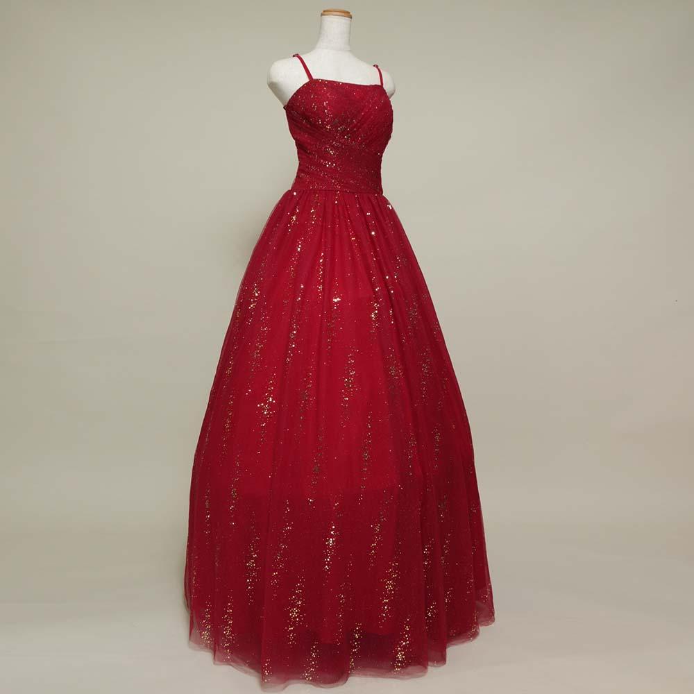 キラキラゴールドグリッターとレッドカラーを組み合わせた煌びやかなカラードレス