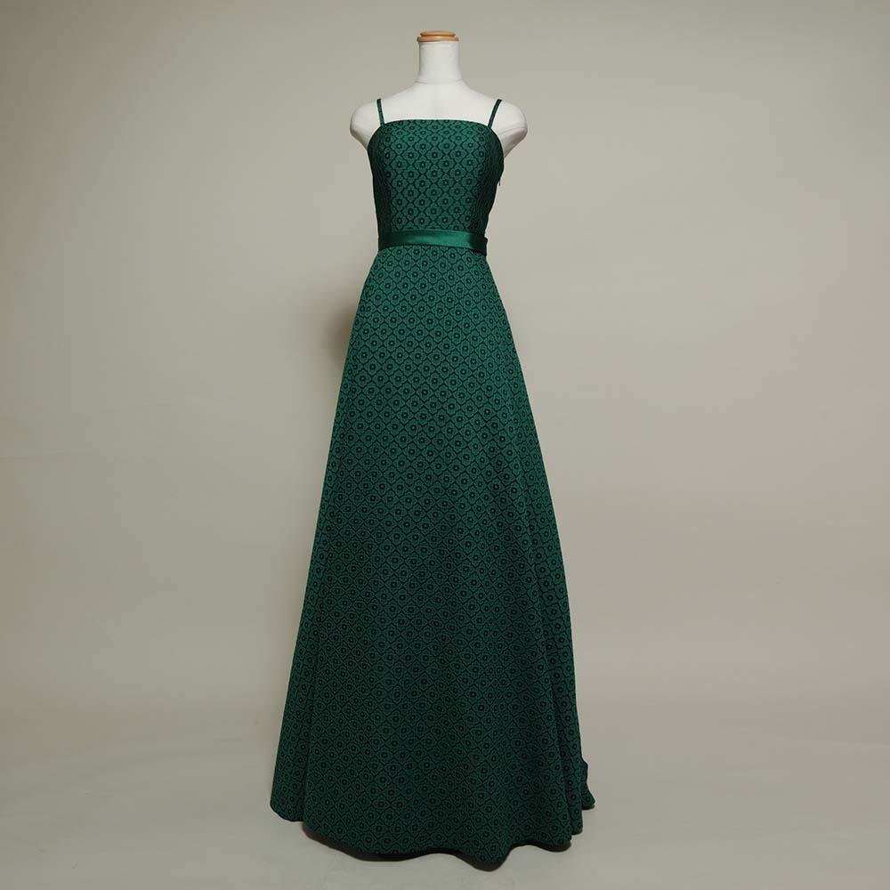 レトロなパターン生地を使用した大人グリーンのカラードレス