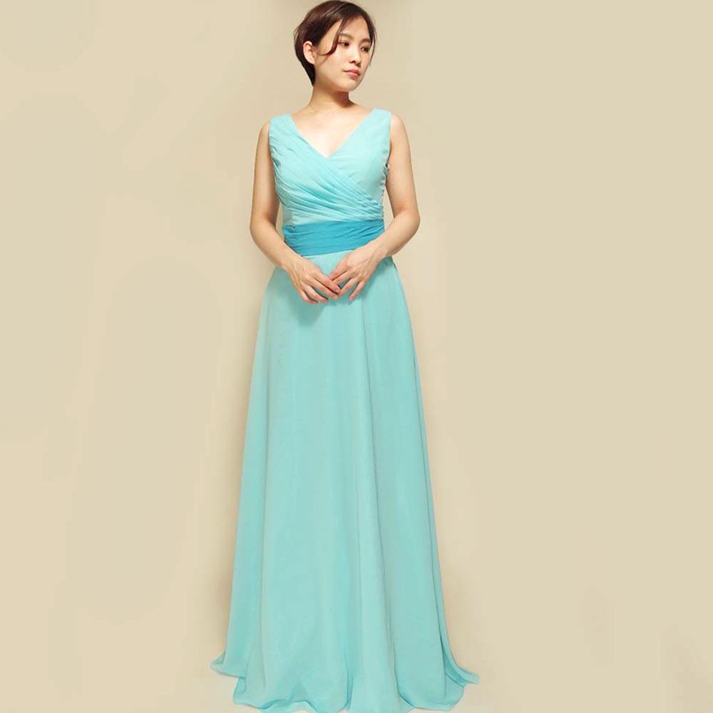 ギリシャスタイルのスカイブルー肩付きスレンダーロングドレス