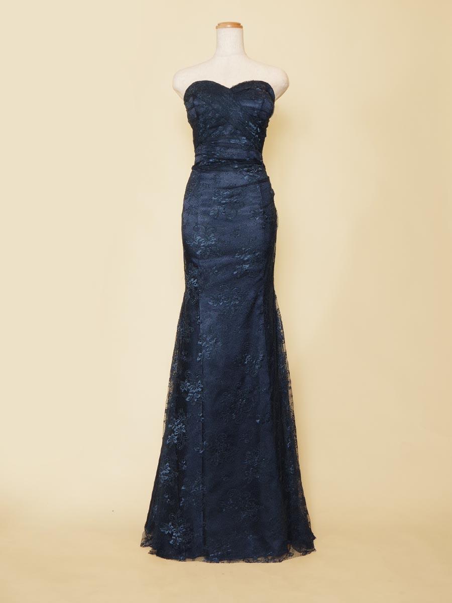 ミスコンのドレスアップにも最適なネイビーカラーの総レースマーメイドラインドレス