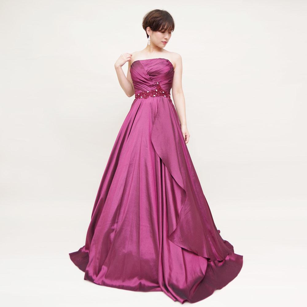 シックで大人な光沢感のフーシャパープルのAラインボリュームドレス